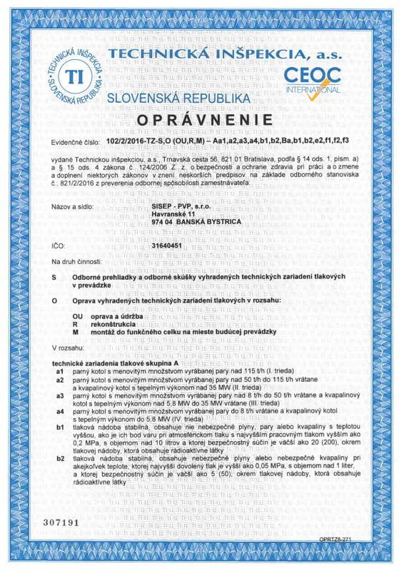 Certifikát - Oprávnenie od technickej inšpekcii