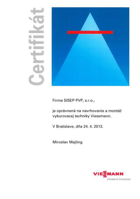 Certifikát - navrhovanie a montáž vykurovacej techniky Viessmann